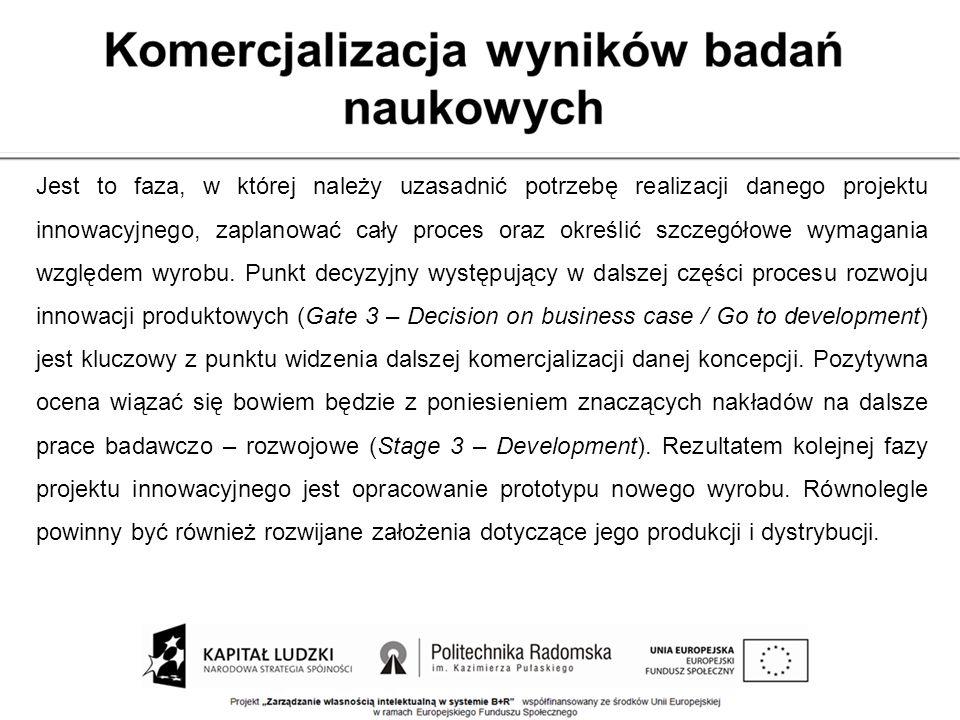 Jest to faza, w której należy uzasadnić potrzebę realizacji danego projektu innowacyjnego, zaplanować cały proces oraz określić szczegółowe wymagania względem wyrobu.