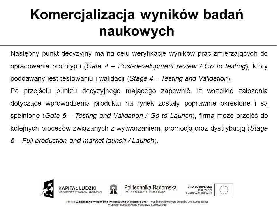 Następny punkt decyzyjny ma na celu weryfikację wyników prac zmierzających do opracowania prototypu (Gate 4 – Post-development review / Go to testing), który poddawany jest testowaniu i walidacji (Stage 4 – Testing and Validation).