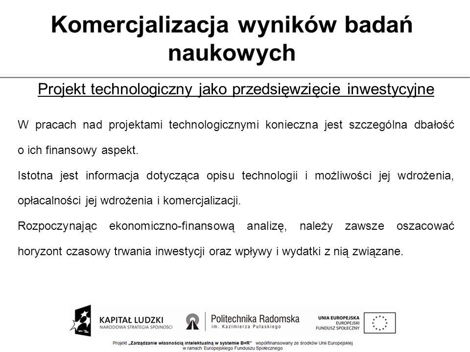Projekt technologiczny jako przedsięwzięcie inwestycyjne