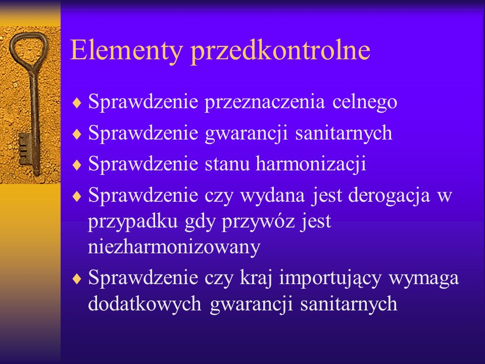 Elementy przedkontrolne