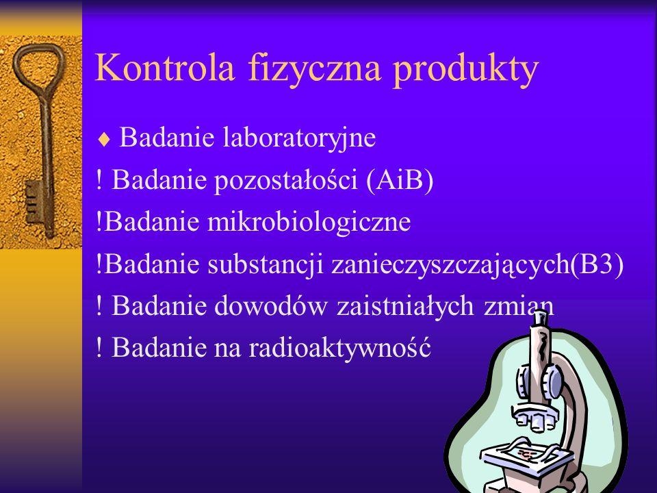 Kontrola fizyczna produkty