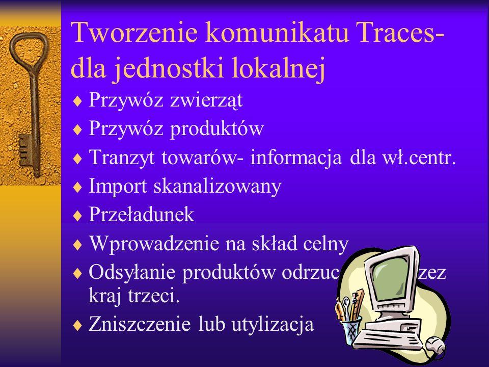 Tworzenie komunikatu Traces-dla jednostki lokalnej