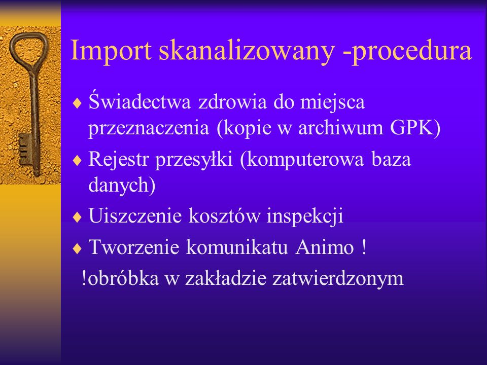 Import skanalizowany -procedura