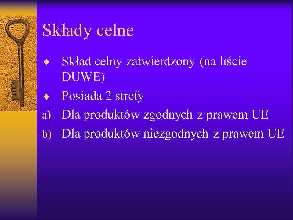 Składy celne Skład celny zatwierdzony (na liście DUWE)