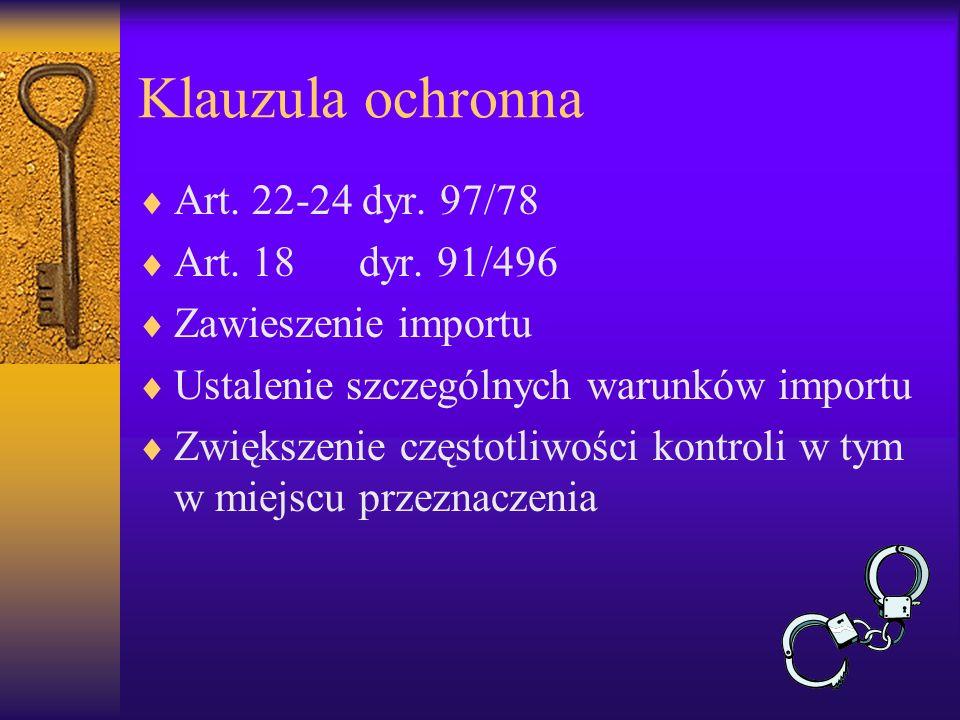 Klauzula ochronna Art. 22-24 dyr. 97/78 Art. 18 dyr. 91/496