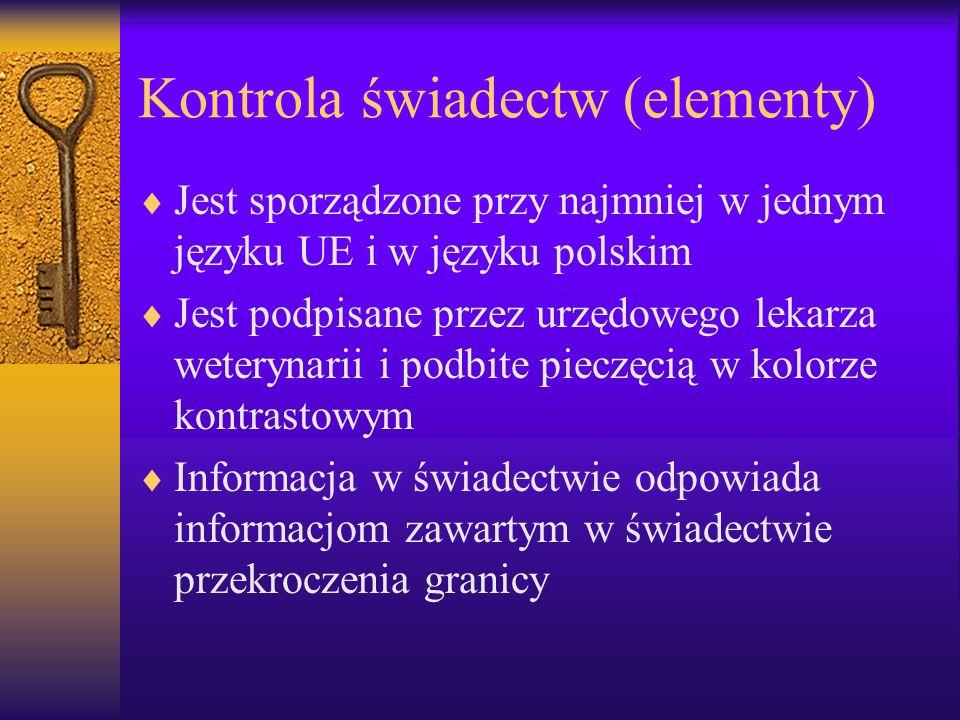 Kontrola świadectw (elementy)