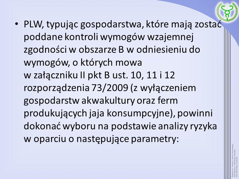 PLW, typując gospodarstwa, które mają zostać poddane kontroli wymogów wzajemnej zgodności w obszarze B w odniesieniu do wymogów, o których mowa w załączniku II pkt B ust.