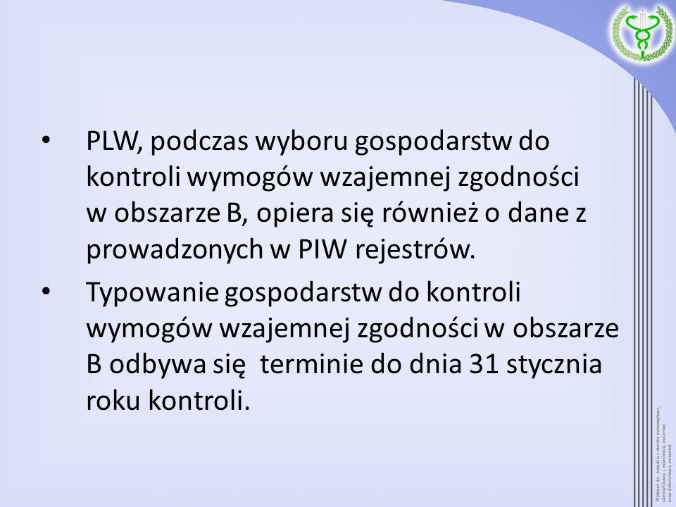 PLW, podczas wyboru gospodarstw do kontroli wymogów wzajemnej zgodności w obszarze B, opiera się również o dane z prowadzonych w PIW rejestrów.