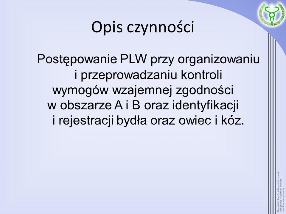 Opis czynności Postępowanie PLW przy organizowaniu i przeprowadzaniu kontroli. wymogów wzajemnej zgodności.