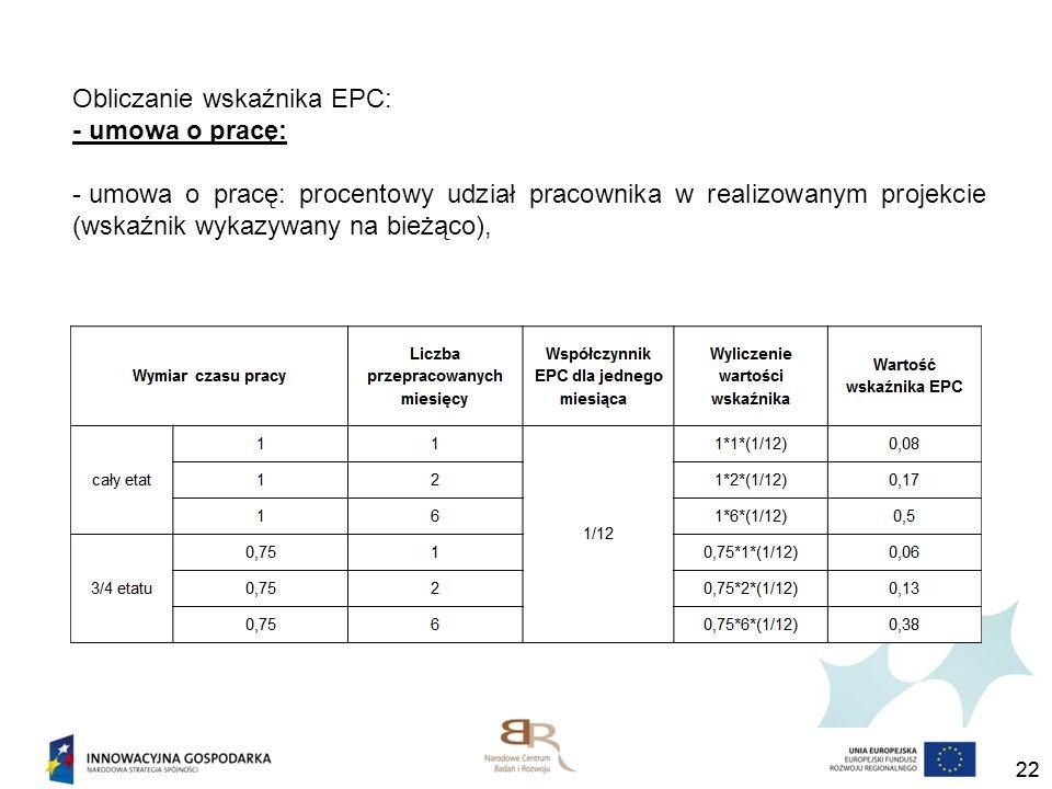 Obliczanie wskaźnika EPC: - umowa o pracę: