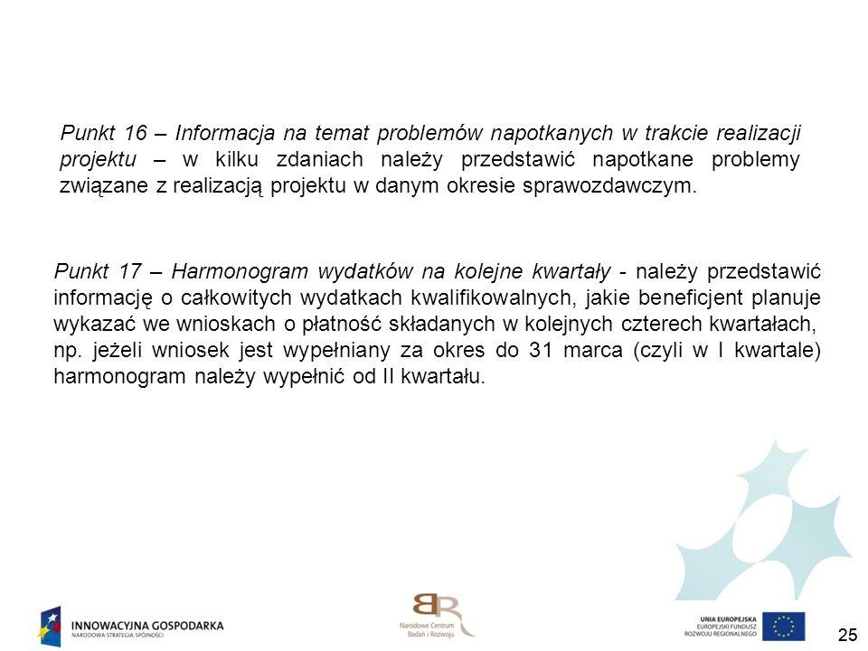 Punkt 16 – Informacja na temat problemów napotkanych w trakcie realizacji projektu – w kilku zdaniach należy przedstawić napotkane problemy związane z realizacją projektu w danym okresie sprawozdawczym.