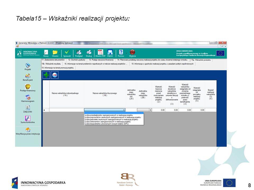 Tabela15 – Wskaźniki realizacji projektu: