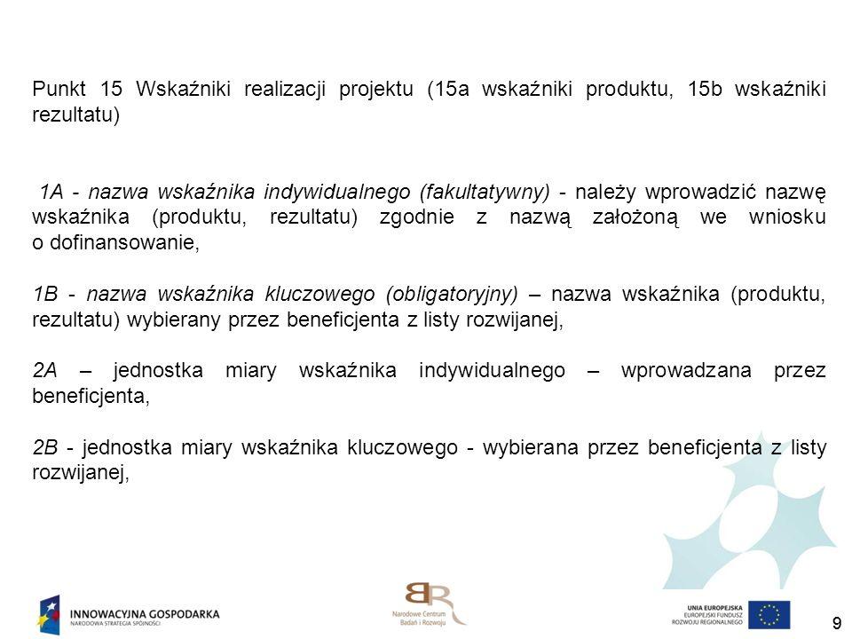 Punkt 15 Wskaźniki realizacji projektu (15a wskaźniki produktu, 15b wskaźniki rezultatu)
