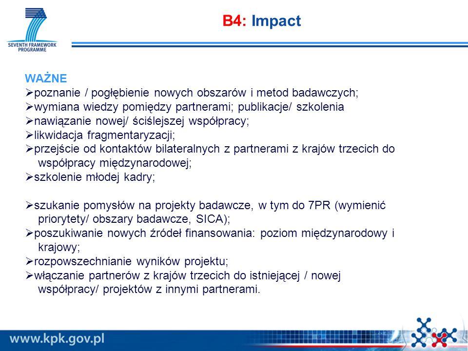 B4: Impact WAŻNE. poznanie / pogłębienie nowych obszarów i metod badawczych; wymiana wiedzy pomiędzy partnerami; publikacje/ szkolenia.