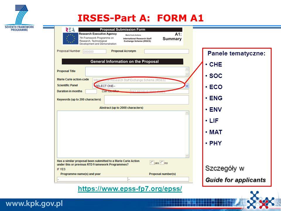 IRSES-Part A: FORM A1 Szczegóły w https://www.epss-fp7.org/epss/