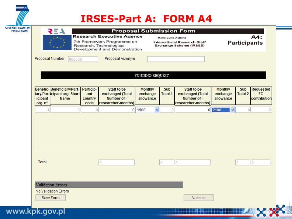 IRSES-Part A: FORM A4