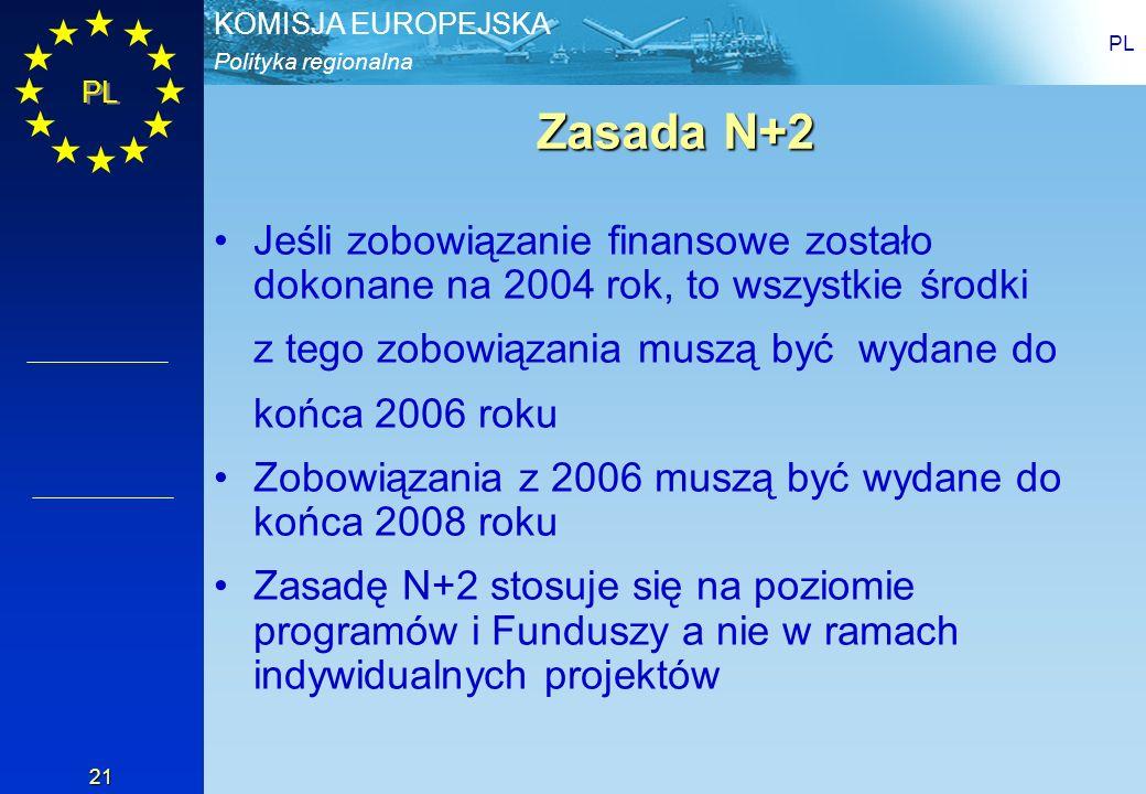PL Zasada N+2. Jeśli zobowiązanie finansowe zostało dokonane na 2004 rok, to wszystkie środki. z tego zobowiązania muszą być wydane do.