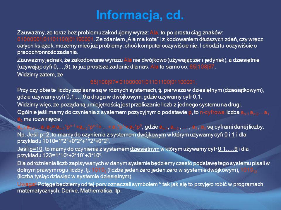 Informacja, cd.