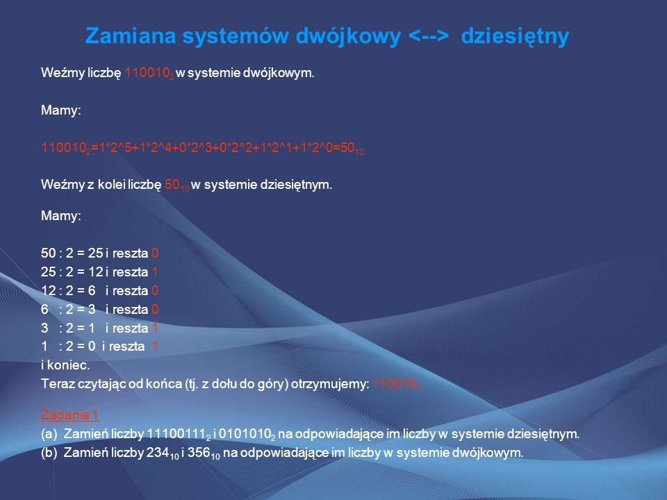 Zamiana systemów dwójkowy <--> dziesiętny