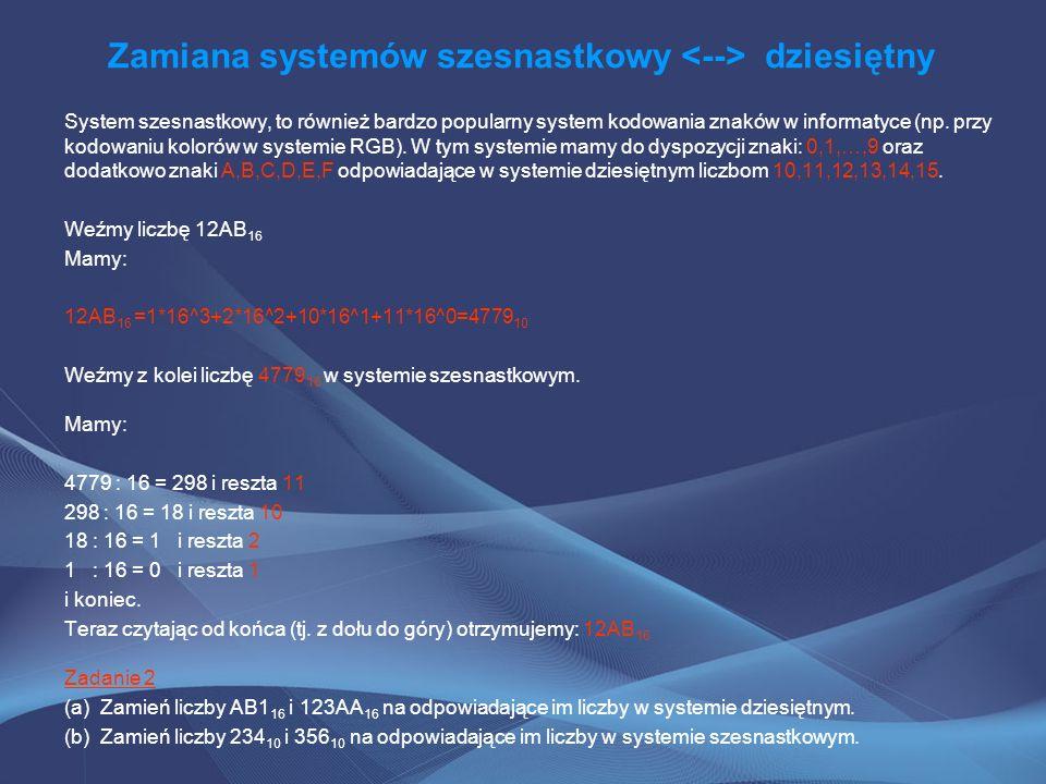 Zamiana systemów szesnastkowy <--> dziesiętny