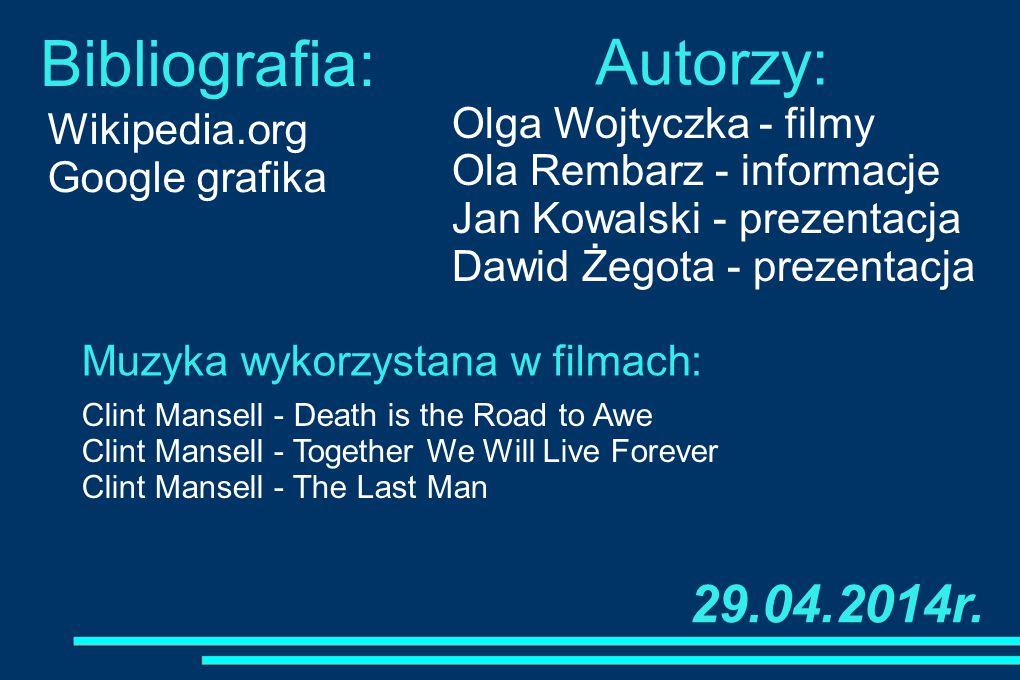 Bibliografia: Autorzy: 29.04.2014r. Olga Wojtyczka - filmy