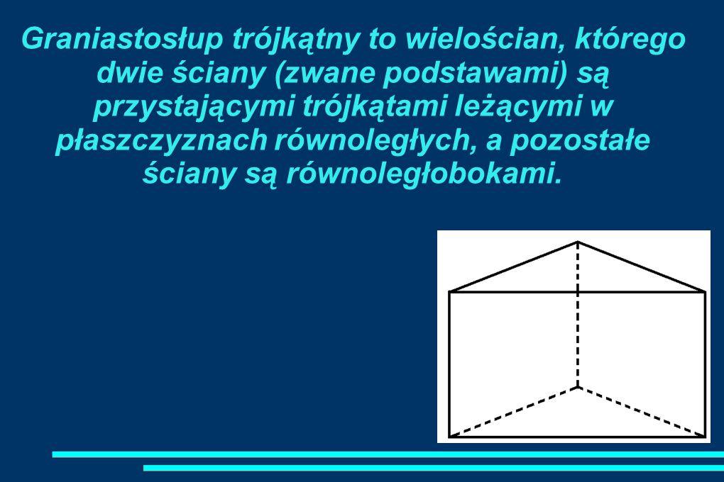 Graniastosłup trójkątny to wielościan, którego dwie ściany (zwane podstawami) są przystającymi trójkątami leżącymi w płaszczyznach równoległych, a pozostałe ściany są równoległobokami.
