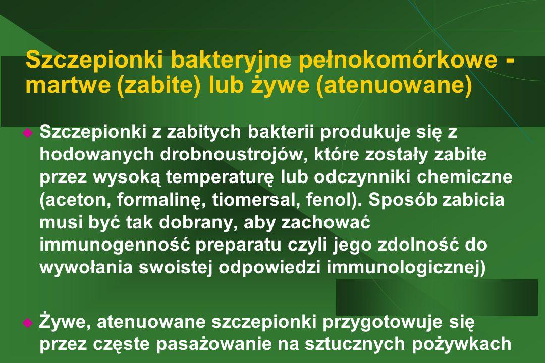 Szczepionki bakteryjne pełnokomórkowe - martwe (zabite) lub żywe (atenuowane)