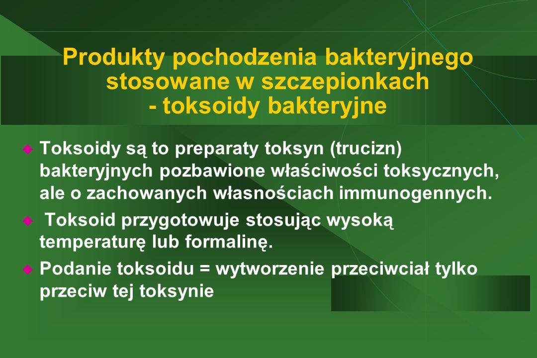 Produkty pochodzenia bakteryjnego stosowane w szczepionkach - toksoidy bakteryjne