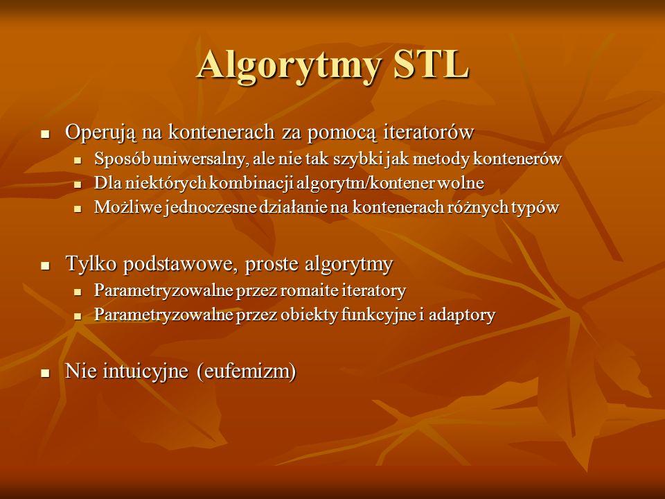 Algorytmy STL Operują na kontenerach za pomocą iteratorów