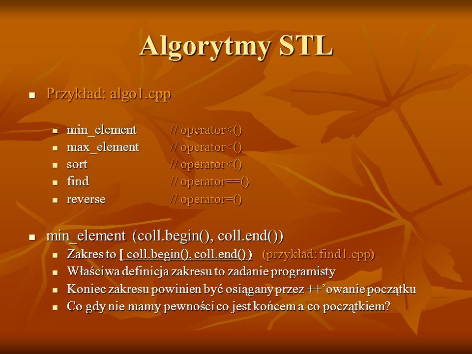 Algorytmy STL Przykład: algo1.cpp