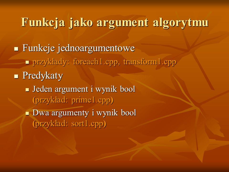Funkcja jako argument algorytmu