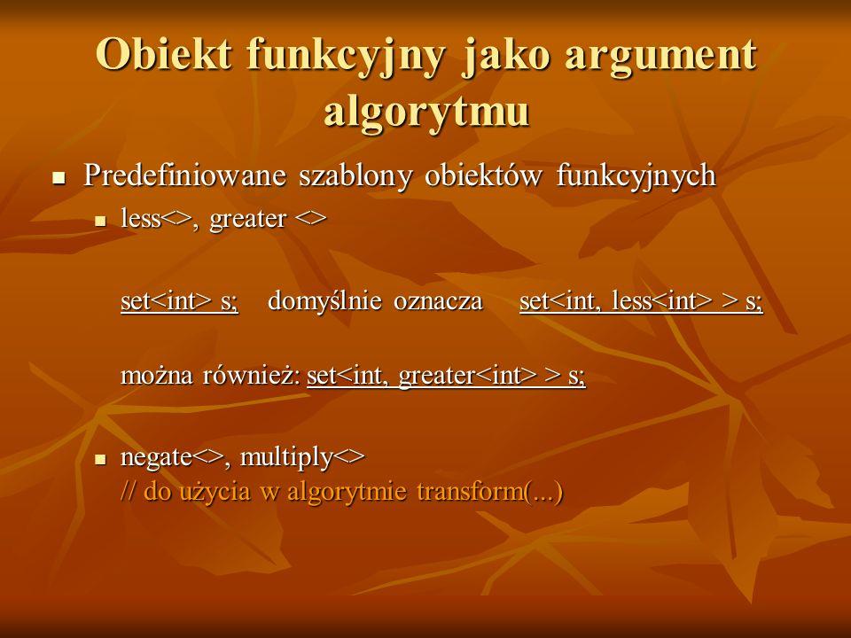 Obiekt funkcyjny jako argument algorytmu