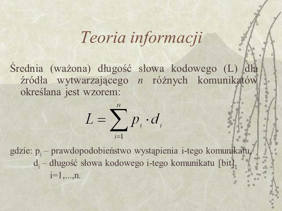 Teoria informacji Średnia (ważona) długość słowa kodowego (L) dla źródła wytwarzającego n różnych komunikatów określana jest wzorem: