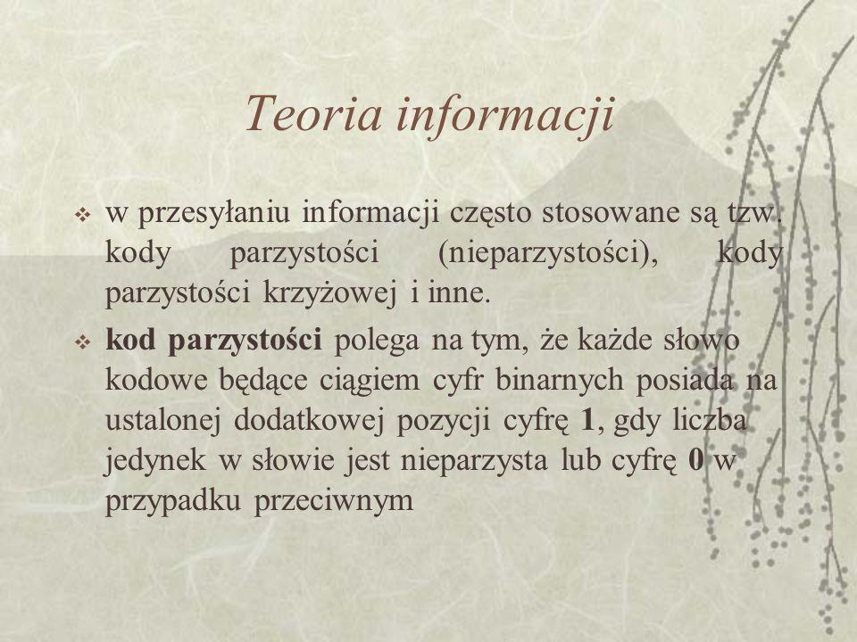 Teoria informacji w przesyłaniu informacji często stosowane są tzw. kody parzystości (nieparzystości), kody parzystości krzyżowej i inne.