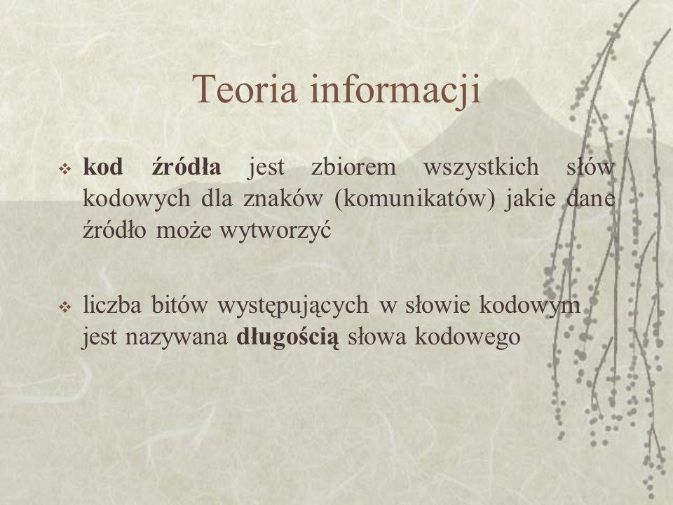 Teoria informacjikod źródła jest zbiorem wszystkich słów kodowych dla znaków (komunikatów) jakie dane źródło może wytworzyć.