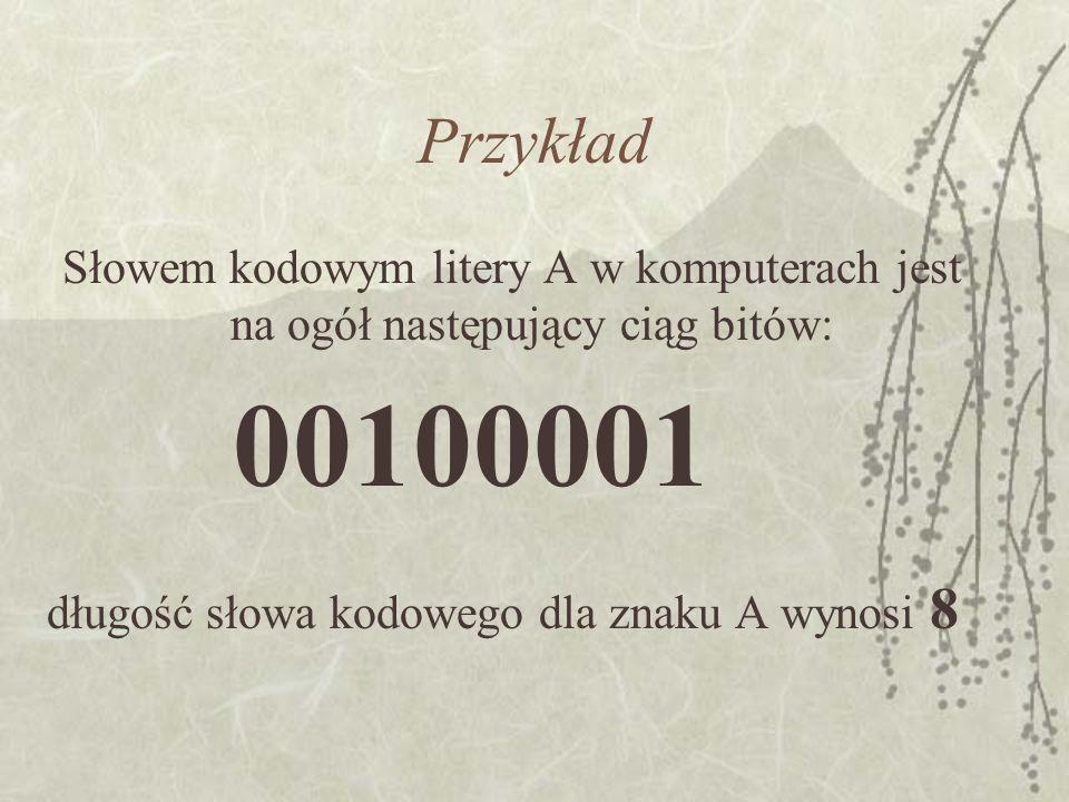 Przykład Słowem kodowym litery A w komputerach jest na ogół następujący ciąg bitów: długość słowa kodowego dla znaku A wynosi 8.