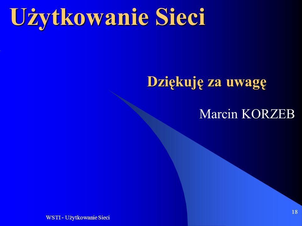 Użytkowanie Sieci Dziękuję za uwagę Marcin KORZEB