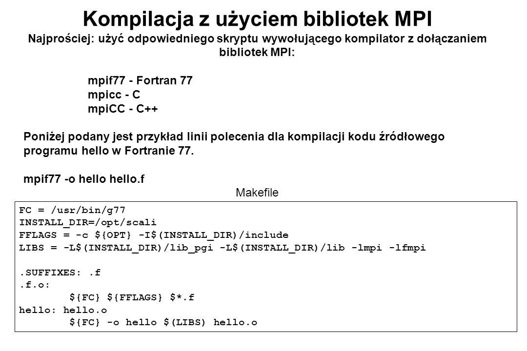 Kompilacja z użyciem bibliotek MPI