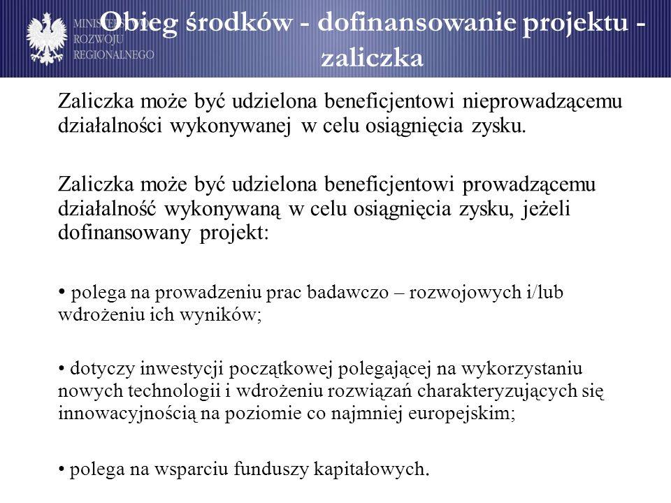Obieg środków - dofinansowanie projektu - zaliczka