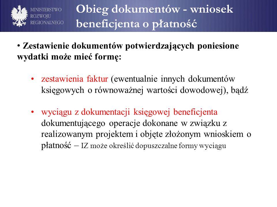 Obieg dokumentów - wniosek beneficjenta o płatność