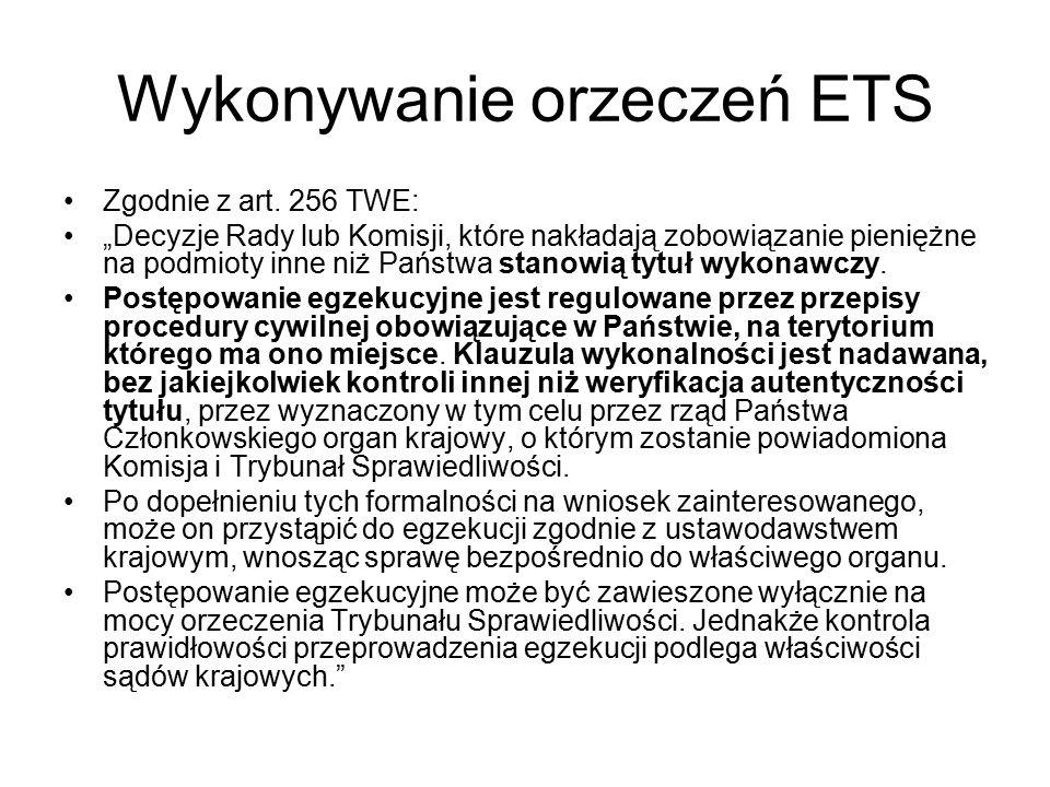 Wykonywanie orzeczeń ETS