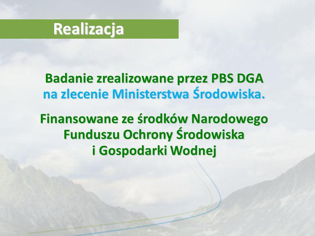RealizacjaBadanie zrealizowane przez PBS DGA na zlecenie Ministerstwa Środowiska.