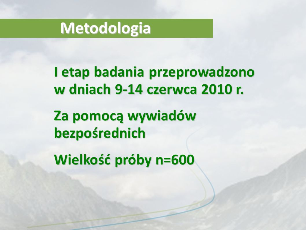 MetodologiaI etap badania przeprowadzono w dniach 9-14 czerwca 2010 r. Za pomocą wywiadów bezpośrednich.