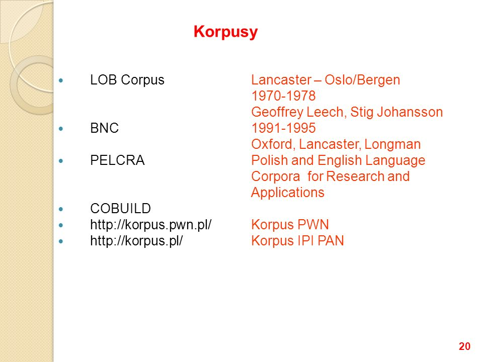 Korpusy LOB Corpus Lancaster – Oslo/Bergen 1970-1978