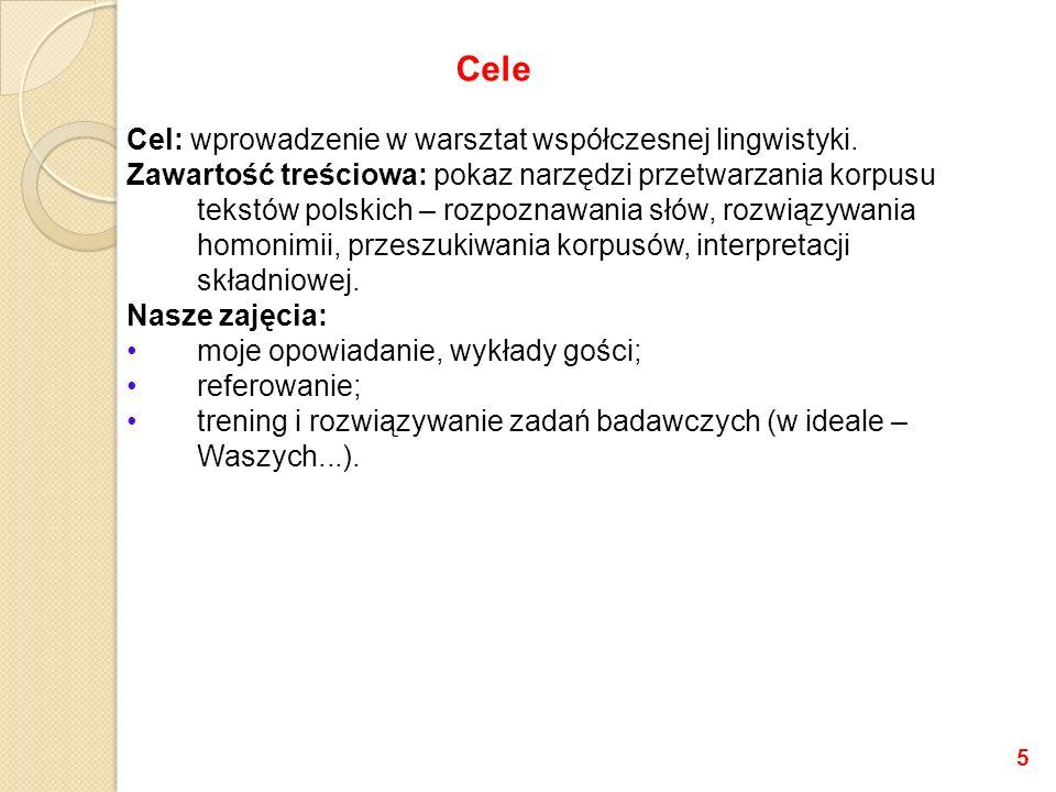 Cele Cel: wprowadzenie w warsztat współczesnej lingwistyki.