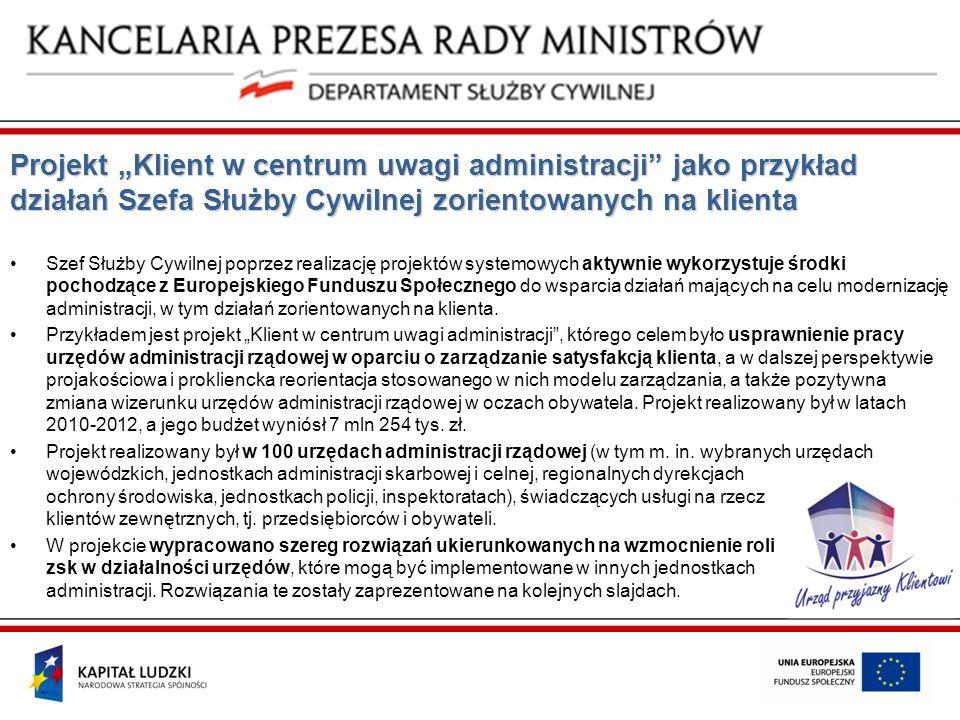 """Projekt """"Klient w centrum uwagi administracji jako przykład działań Szefa Służby Cywilnej zorientowanych na klienta"""