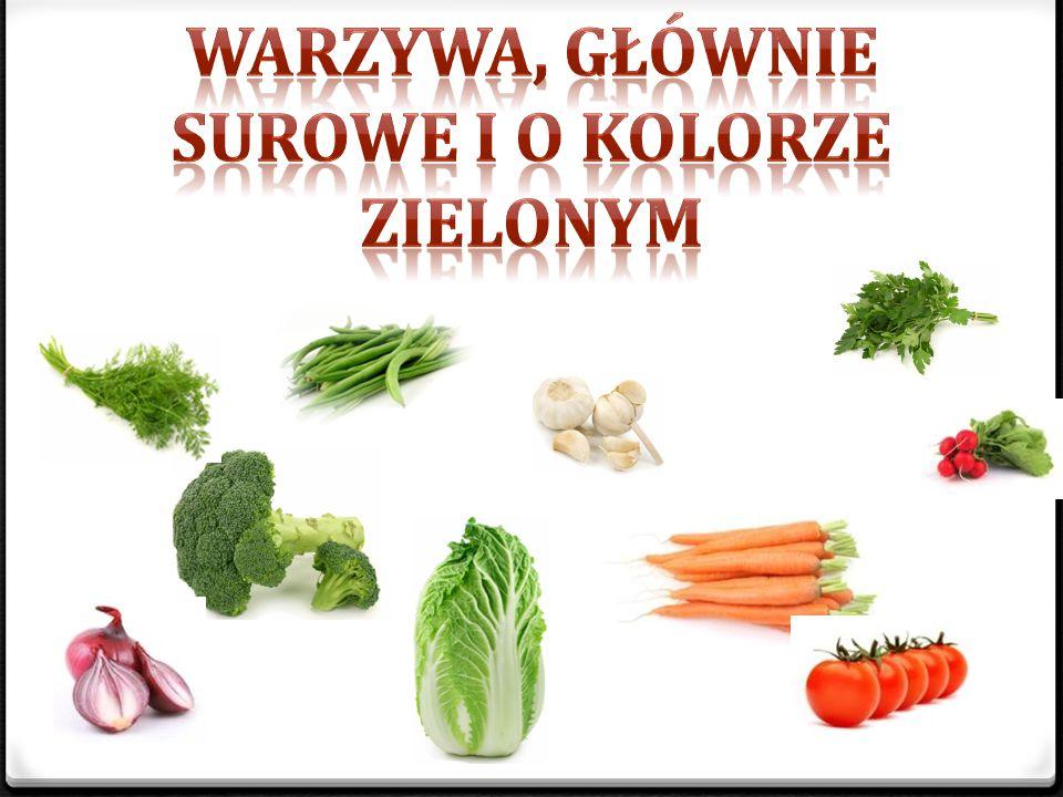 warzywa, głównie surowe i o kolorze zielonym