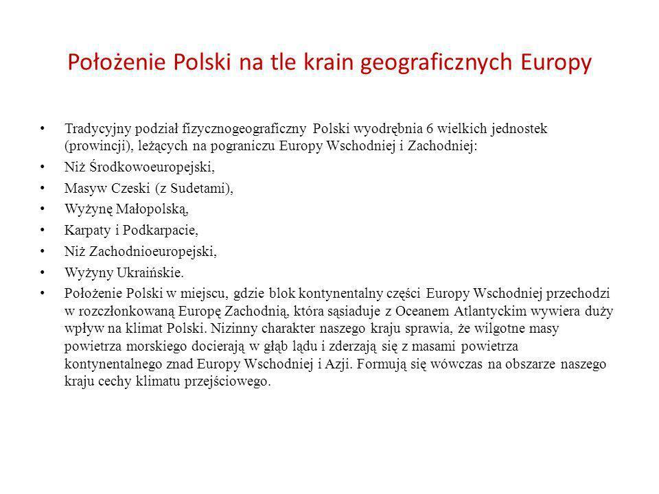 Położenie Polski na tle krain geograficznych Europy