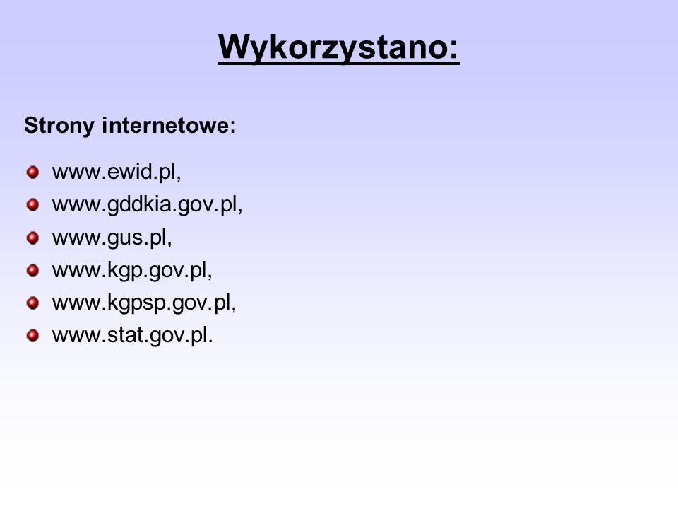 Wykorzystano: Strony internetowe: www.ewid.pl, www.gddkia.gov.pl,