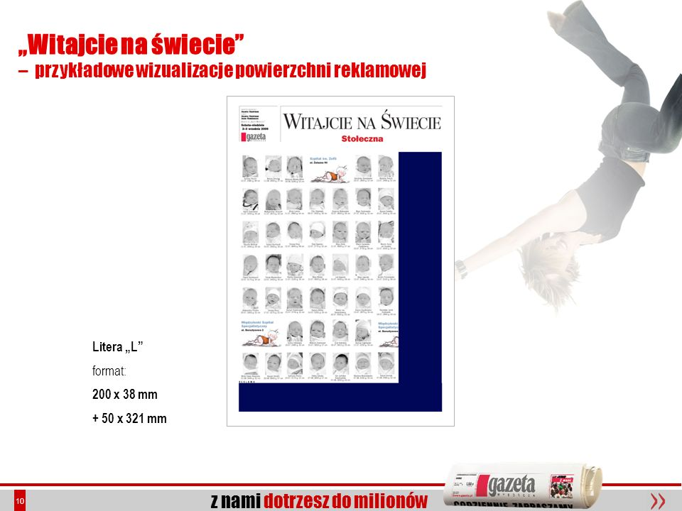 """""""Witajcie na świecie – przykładowe wizualizacje powierzchni reklamowej. Litera """"L format: 200 x 38 mm."""